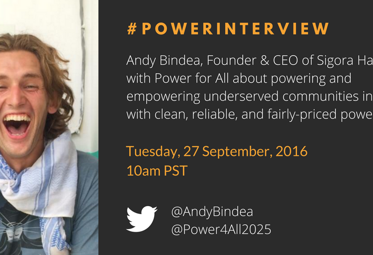 Twitter Interview: Andy talks micro-utilities and energy access with Power for All